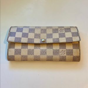 "Louis Vuitton ""Sarah"" long wallet in Damier Azur"